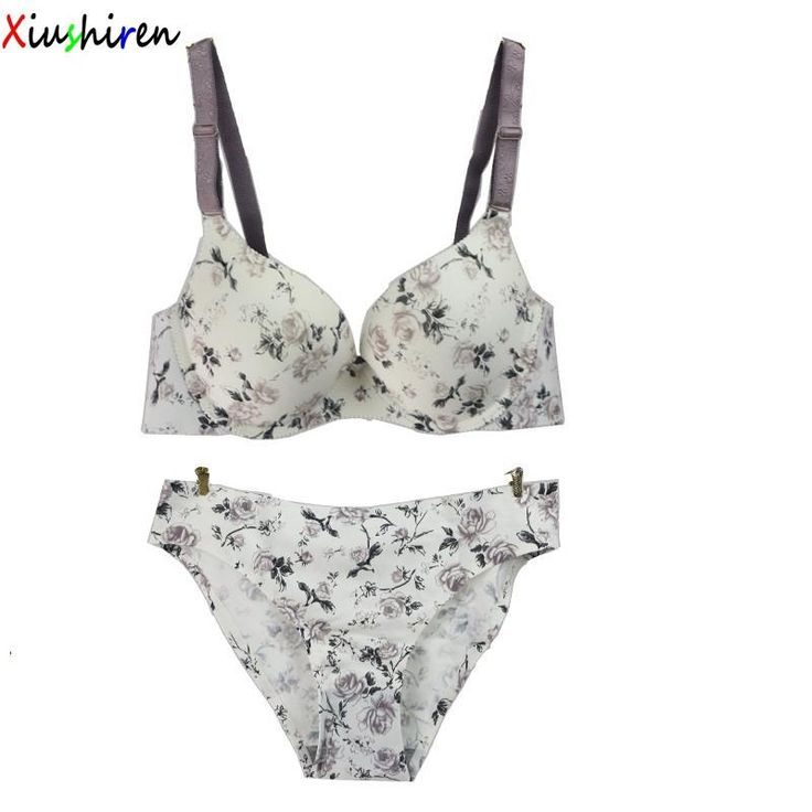 XIUSHIREN Hot Beads Seamless bra Set Noble Sexy Floral Lingerie Big Size Underwear Sets for women ABC Cup Blue Grey Brown DE0040