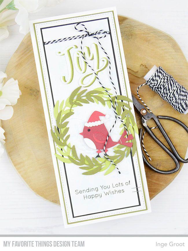 Stamps: Christmas Cardinals, City Block Background, Distressed Patterns  Die-namics: Holly Jolly Cardinals, Joyful Wreath, Slimline St…
