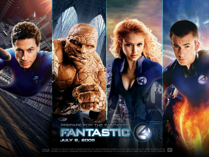 Fantastic Four (2005). Can't forget this movie! Chris Evans played Johnny Storm! <3