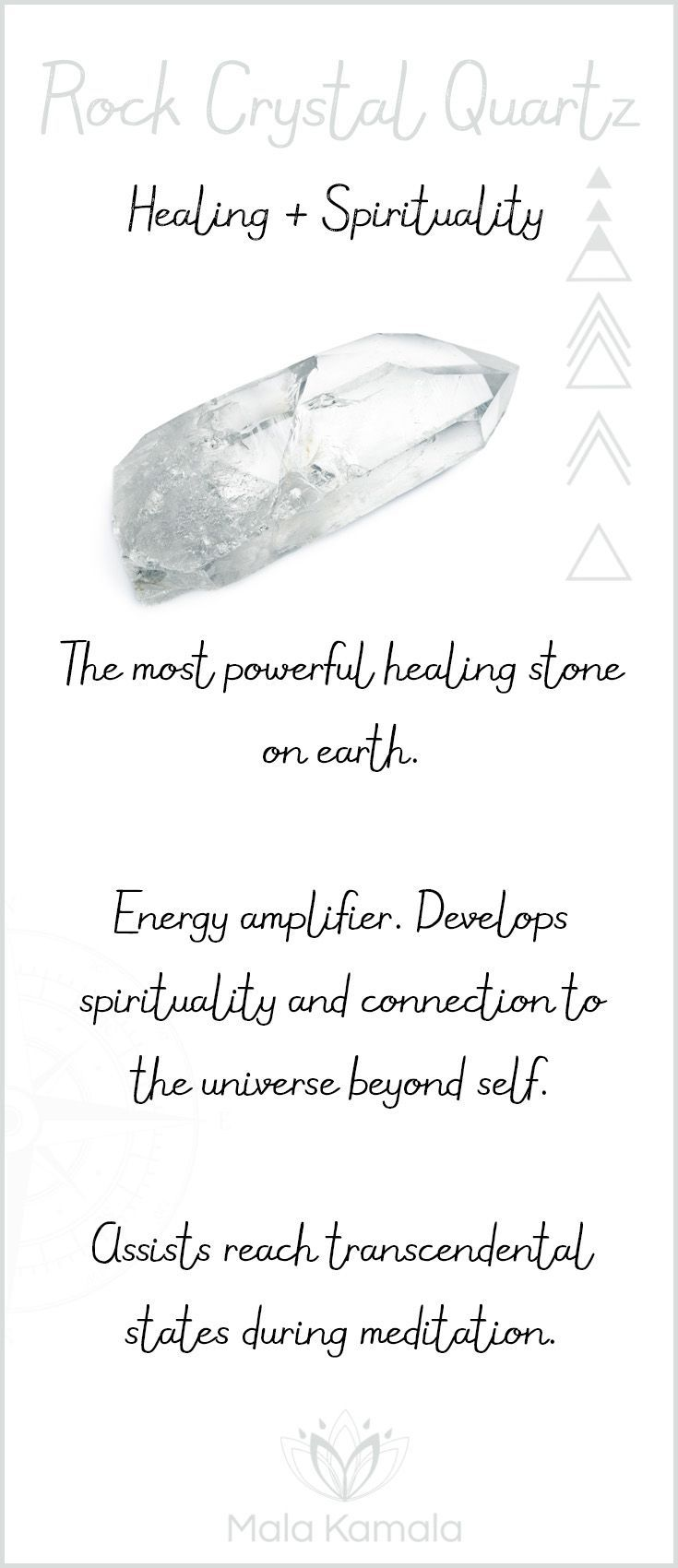 What is the meaning and crystal and chakra healing properties of rock crystal clear quartz? A stone for healing and spirituality.