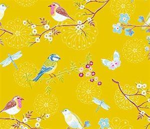 Asian inspired yellow wallpaper