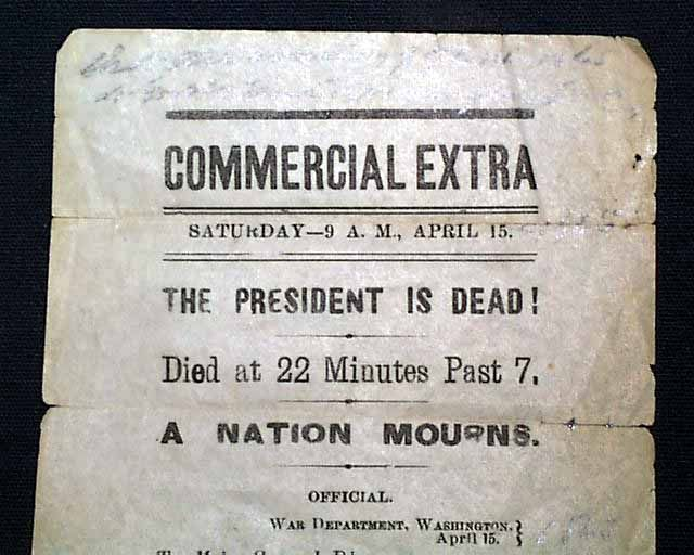 Image result for lincoln  dies on april 15, 1865