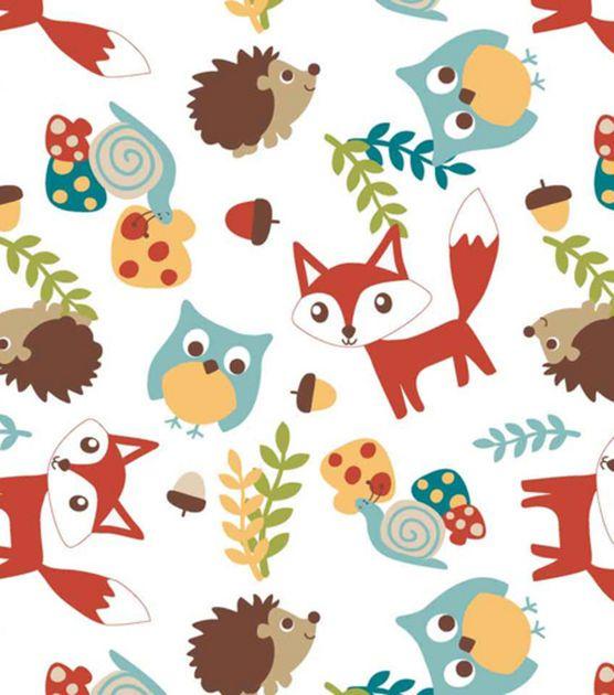 Nursery fabric 3d mr fox friends toss flannel boy 39 s for Boy nursery fabric