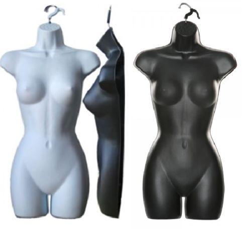 HALF-HANGING-FEMALE-CHILD-MANNEQUIN-TORSO-DISPLAY-BLACK-WHITE