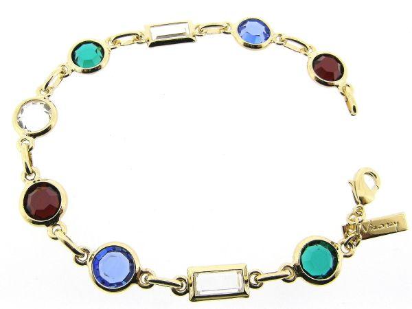 Gouden armband met roos geslepen gekleurde Swarovski kristallen