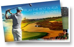 10 rounds of amazing golf as you cruise Asia in style aboard the Sapphire Princess.  Asia Golf Cruise departs April 23, 2016. www.asiagolfcruise.com.au