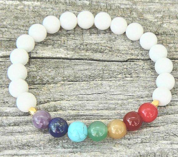 White Agate and 7 Chakra Stone Bead Elastic Bracelet Men
