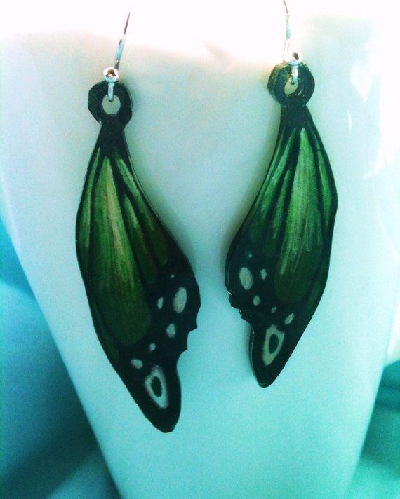 Green Butterfly Wing Earrings Shrinky Dinks Shrink