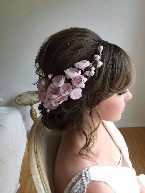 Pink Floral Bridal Headpiece Silk Flower by EdenLuxeBridal