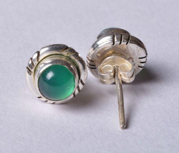 925 Solid Sterling Silver Stud Natural Green Onyx Gemstone 2.0 CM JSS-61 #JaipurSilver
