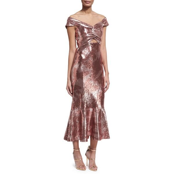 Johanna Ortiz Maicao Sequined Twisted Flounce Dress (£3,100) ❤ liked on Polyvore featuring dresses, rose, ruffle hem dress, sequin dress, red v neck dress, metallic cocktail dress and red ruffle dress
