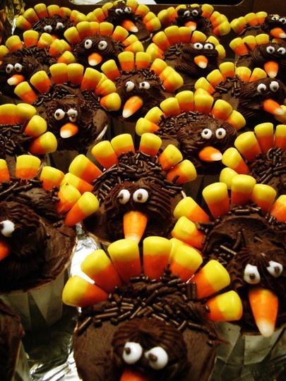 Turkey CupcakesHoliday, Desserts, Ideas, Thanksgiving Turkey, Food, Candies Corn, Candy Corn, Thanksgiving Cupcakes, Turkey Cupcakes
