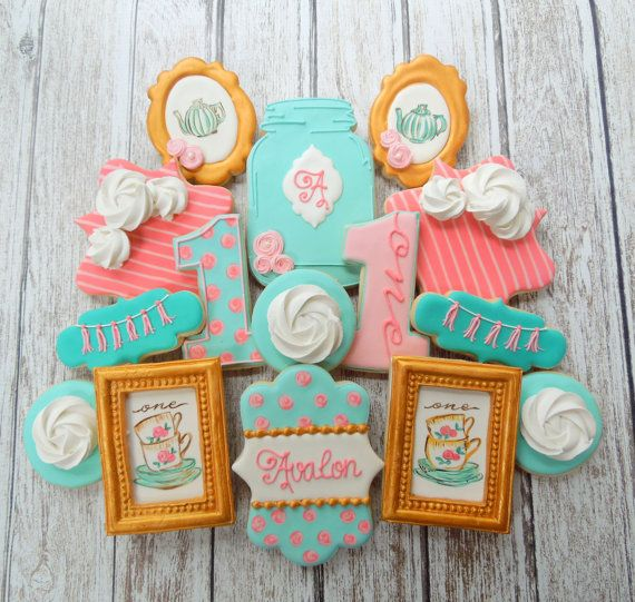 Handmade and Decorated Shabby Chic Cottage Style Vintage Sugar Cookies Tea Party