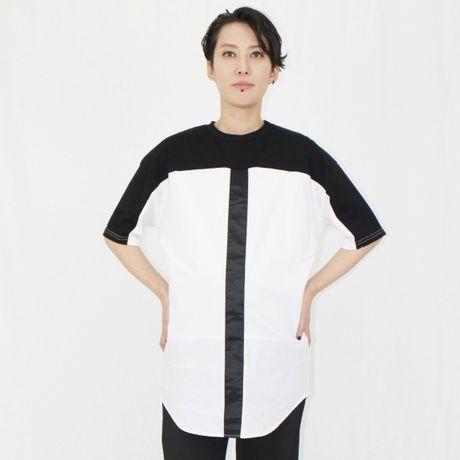 ブラックライン 異素材ミックス クルーネック ビッグTシャツ