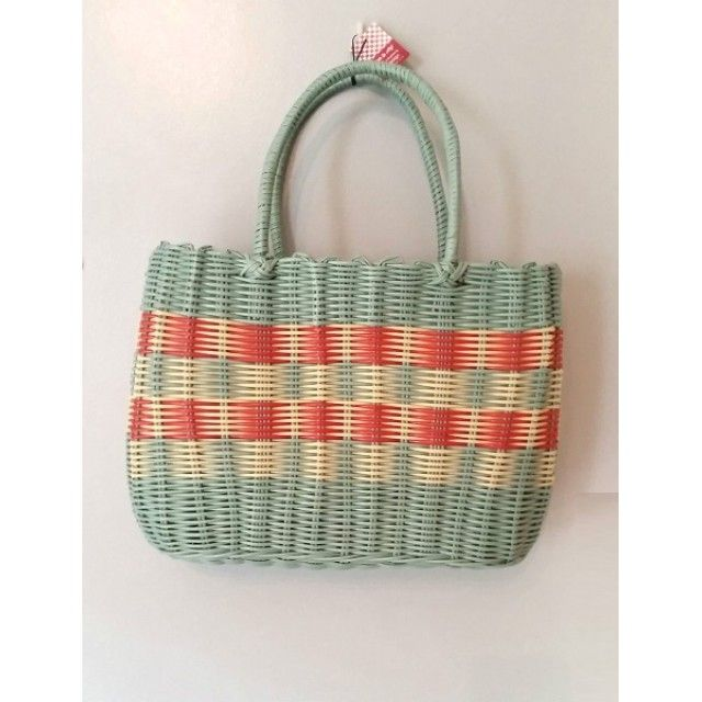 ECP Design Retro Woven Vintage Style Shopping Basket, Aqua Blue