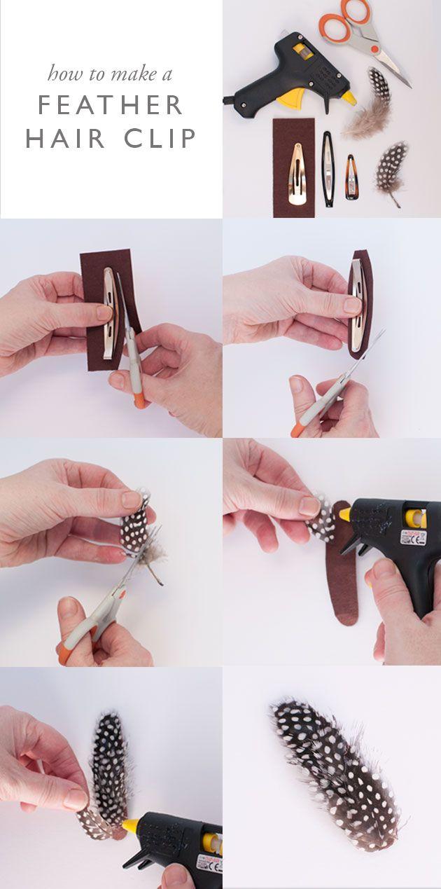 feather hair clips ideas