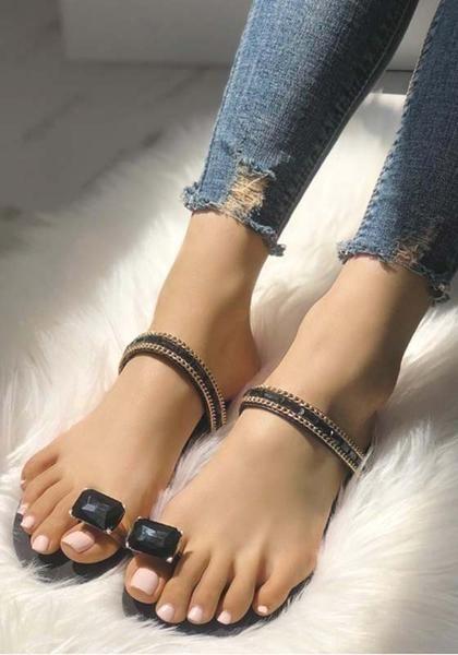 f8a3a3239c74d3 Black Round Toe Rhinestone Fashion Ankle Sandals