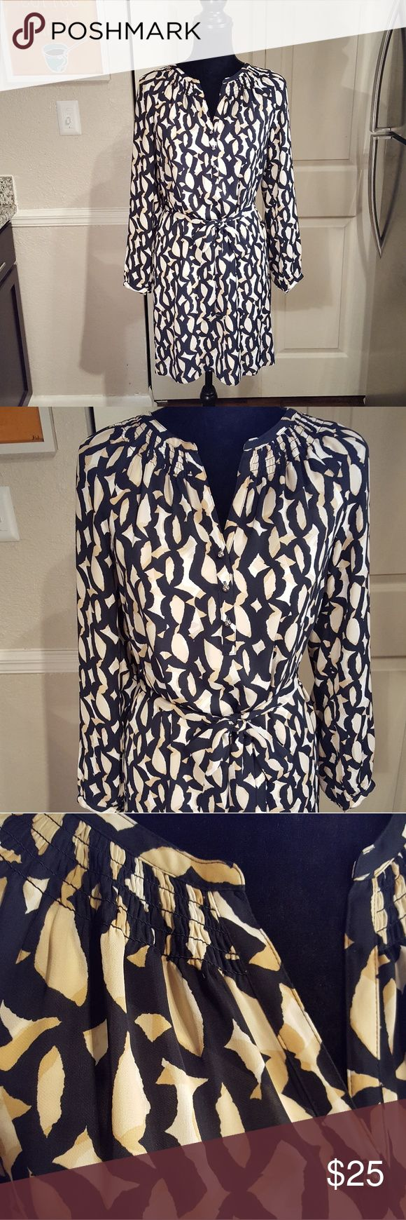 Banana Republic Sheer Geometric Print Shirt Dress Excellent. Gently owned. Smoke free environment. Ships within 1-2 business days.   All laying flat Bust- 18 inches from arm pit to arm pit. Length- 35 inches from shoulder seam to bottom hem. Waist- Doesn't have a defined waist. 19.25 inches across where belt falls. Banana Republic Dresses Midi