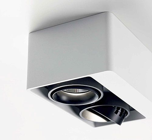 Square ceiling mounted halogen spotlights (adjustable)