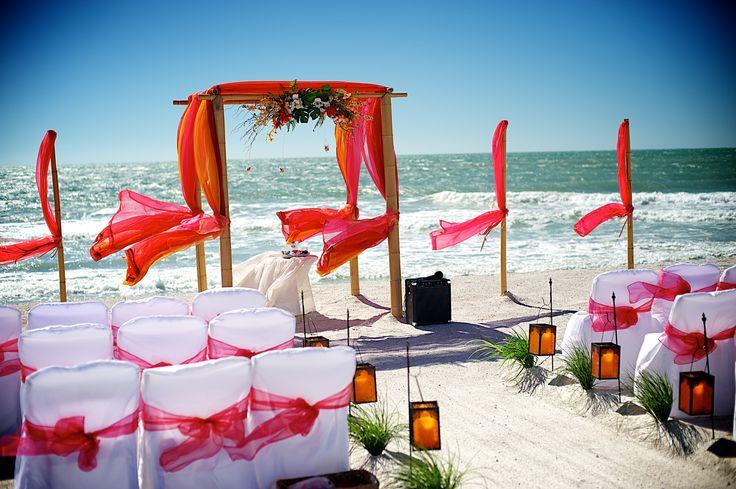 # pink # orange # red beach wedding
