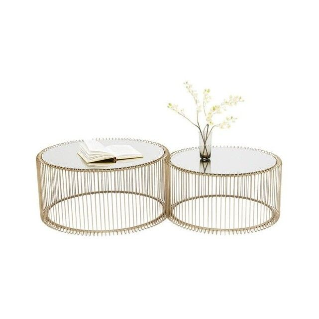 Tables Basses Rondes Wire Laiton Set De 2 Table Basse Ronde Table Basse Laiton