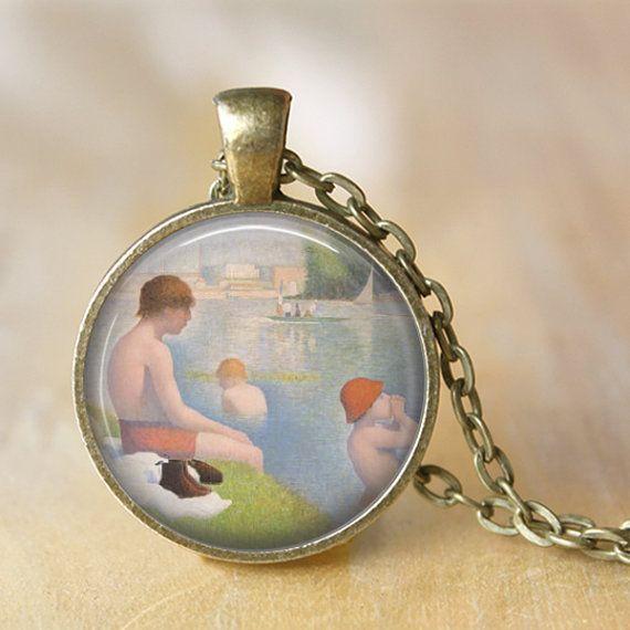 SEURAT  Pendant Necklace  Bathers at Asnieres by LiteraryArtPrints #jewerly #necklace
