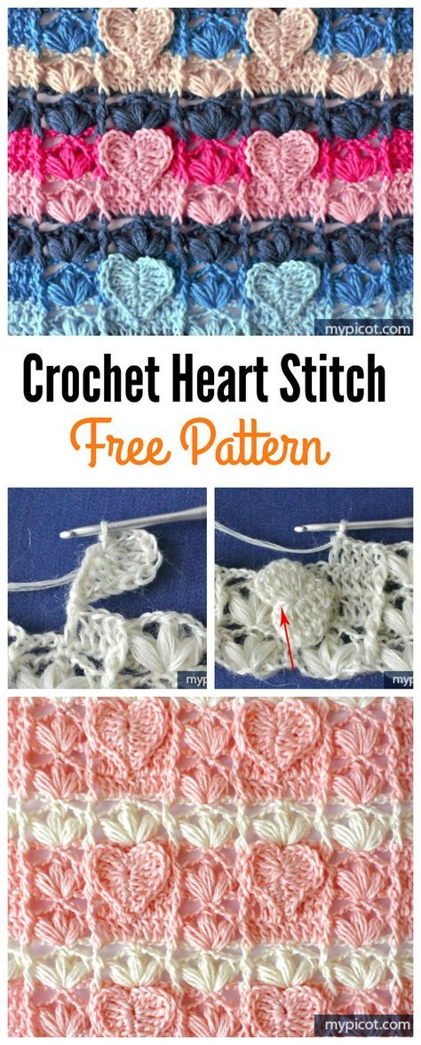 Crochet Textured Heart stitch Free Pattern
