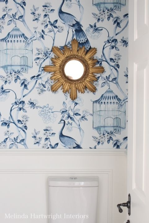 Schumacher wallpaper, wainscoting, sunburst mirror - Melinda Hartwright Interiors