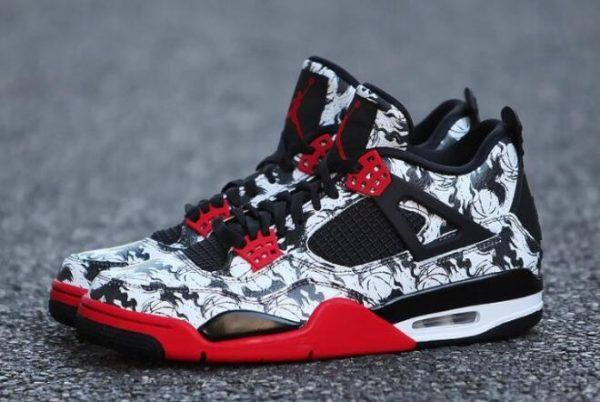 Discount Air Jordan 4 Retro NRG Tattoo Black Fire Red Black-White BQ0897-006 173489720