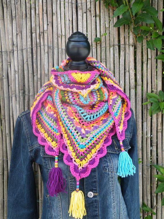 chale, chèche, foulard crocheté laine
