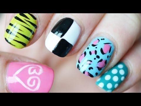Filmpje: 5 x nail-art ♥ Beautygloss logo ♥ tijger ♥ Louis Vuitton ♥ Panter ♥ polkadot