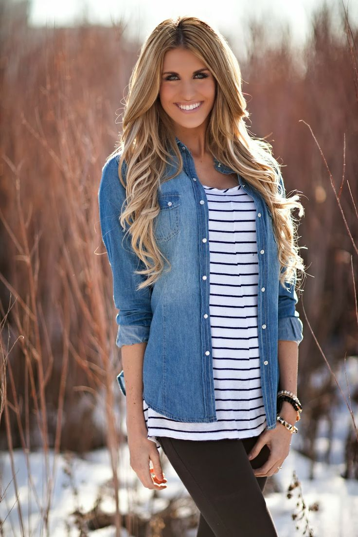 Have both the chambray and striped tops…cute way to pair the two