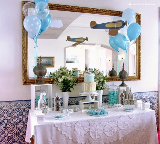 the table for the cake for this vintage travel plane party