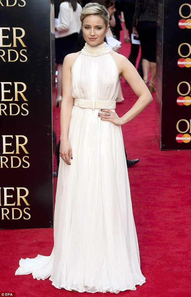 Dianna Agron Is Angelic In An Ivory Gown At The Olivier Awards