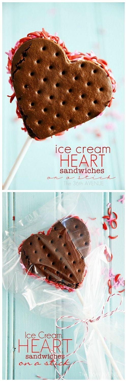 Easy, cute, and yummy Valentine's Day Dessert. Heart Sandwich Ice Cream Tutorial… Love it! #valentines