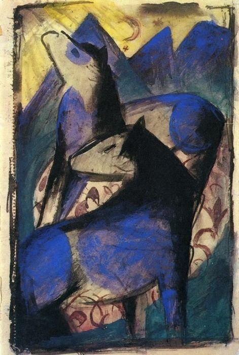 Franz Marc (1880-1916) Hij gebruikt de kleur blauw omdat die kleur volgens hem de kracht van een paard weergeeft. Door middel van kleur laat hij dus iets zien van het innerlijk van een paard. Hij vervormt de werkelijkheid om kracht en energie uit te kunnen drukken. Volgens sommige kunstkenners zou hij met zijn beroemde 'Blauwe Paarden' uitdrukking hebben willen geven aan mannelijke sexualiteit, viriliteit en dierlijkheid. In de animale creatuur zag hij de reinheid en het onaanraakbare.
