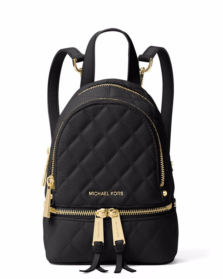 Michael Kors Rhea XS Quilted Messenger Backpack, Black