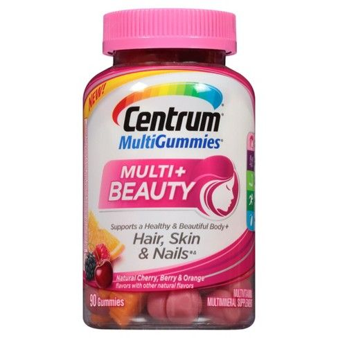 Introducing a delicious, new way to support a healthy, beautiful body plus healthy hair, skin and nails.* This multi-benefit multivitamin is formulated to support metabolism, energy and bone health (2), with a sophisticated blend of 12 nutrients including Vitamin A, C, E and Biotin. Plus, they are gluten-free and have no artificial flavors or sweeteners Available in three great-tasting, natural flavors. Cherry, Berry and Orange. Centrum is backed by over 35 years of nutritional science to…