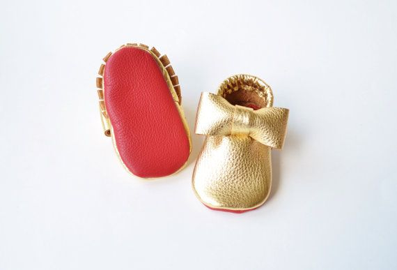 Baby / Toddler Moccasins. Red Bottom Baby by ADayInSummer on Etsy
