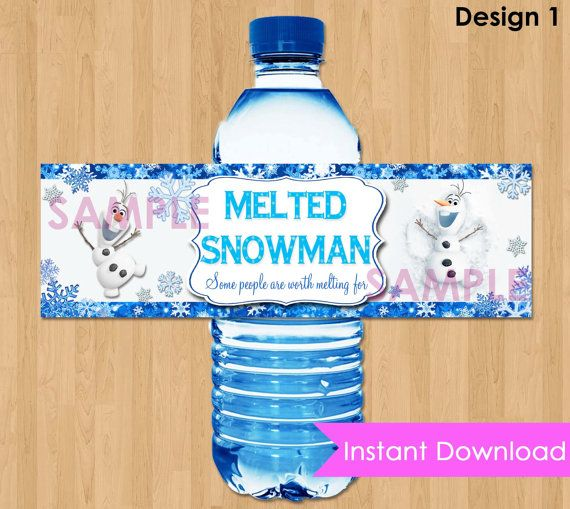 "Disney Frozen Bottle Labels - INSTANT DOWNLOAD 2.5x8""  Melted Snowman Frozen Water Bottle Labels - Birthday Party Printable match Invitation: Frozen Parties, Birthday Parties, Melted Snowman, Frozen Drinks, Matching Invitations, Frozen Bottle, Water Bottle Labels, Frozen Water, Disney Frozen"