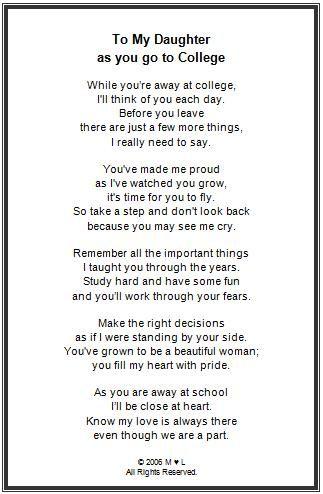 Off To College Framed Poem