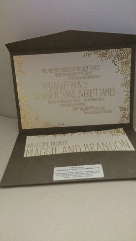 Gorgeous gold and Brown invitation from smock, stocked by Pretty as a picture