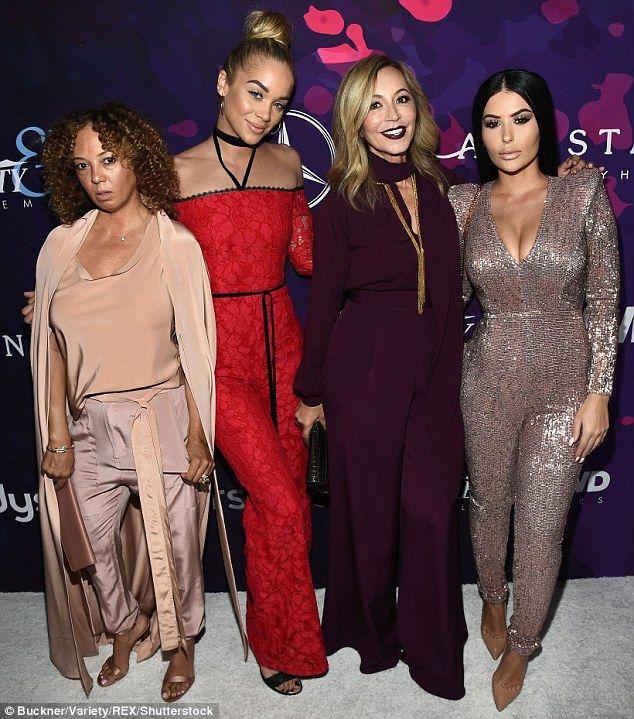 Party people: (L-R) Charlene Roxborough, Jasmine Sanders, Anastasia Soare, and Amra Olevic showed off their glamorous looks