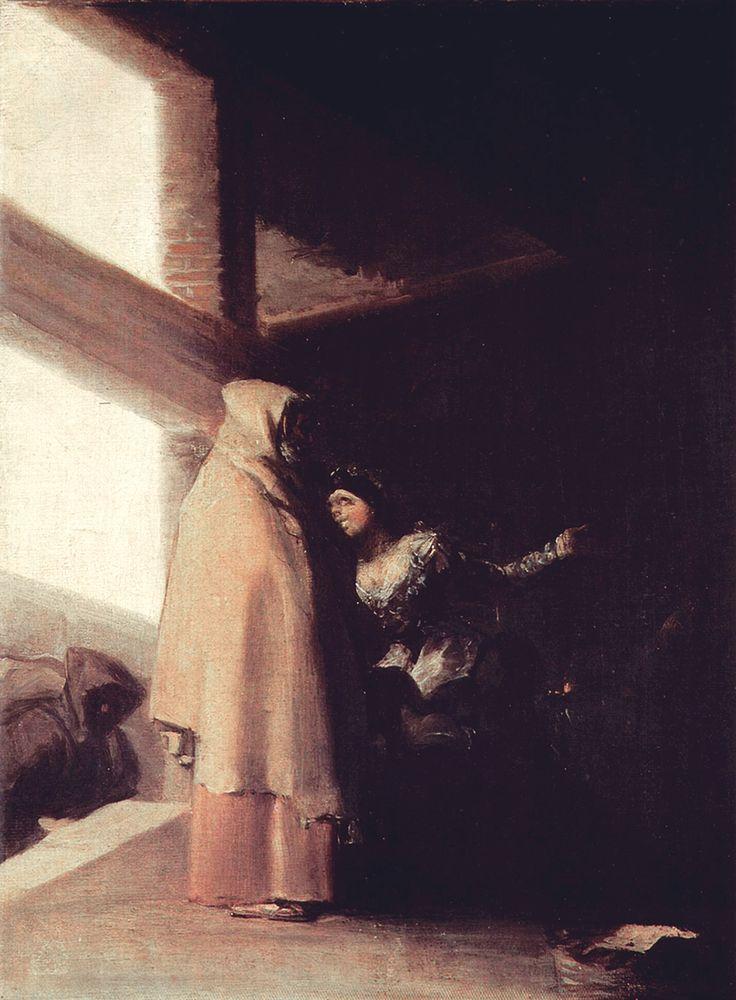 "Francisco de Goya: ""La visita del fraile"". Oil on canvas, 40 x 32 cm, c. 1808-12. Marqués de la Romana Collection, Madrid, Spain"