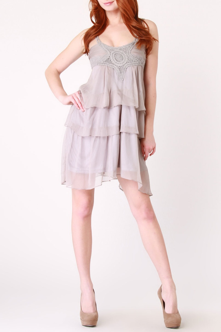 A'Reve Multi Tiered Ruffle Dress In Gray - yes please!!!!!