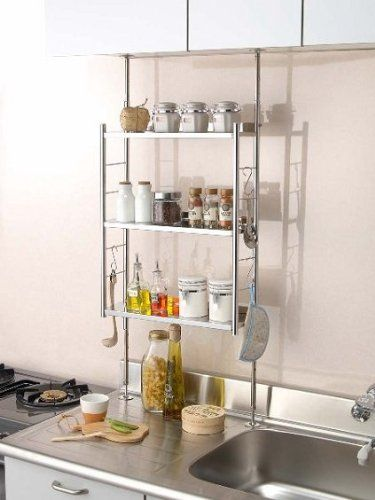 Amazon.co.jp: 突っ張りキッチンラック ステンレス 3段(小): ホーム&キッチン
