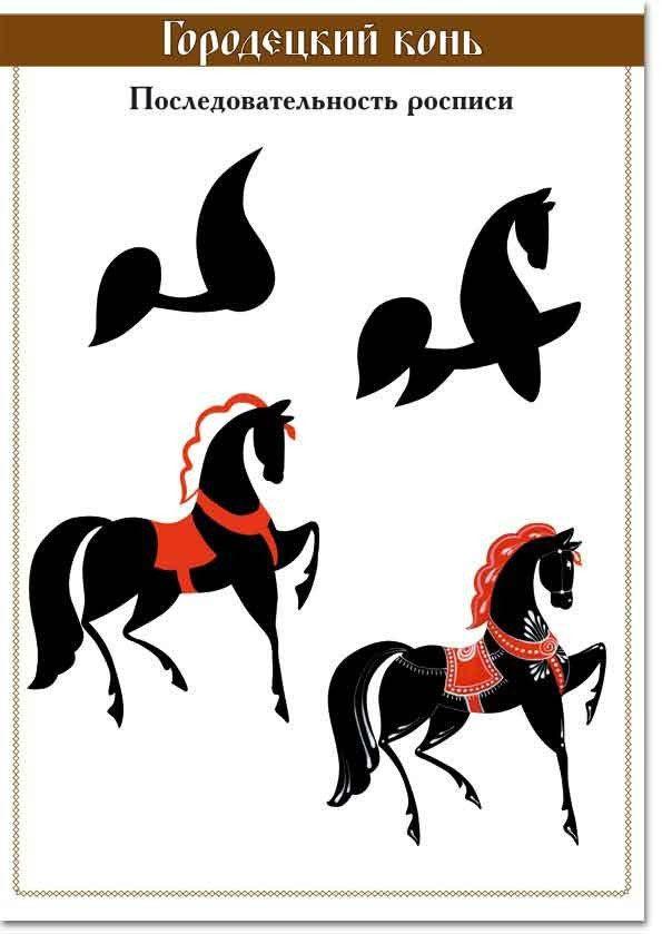 городецкий-конь-последовательность-росписи.jpg (595×839)