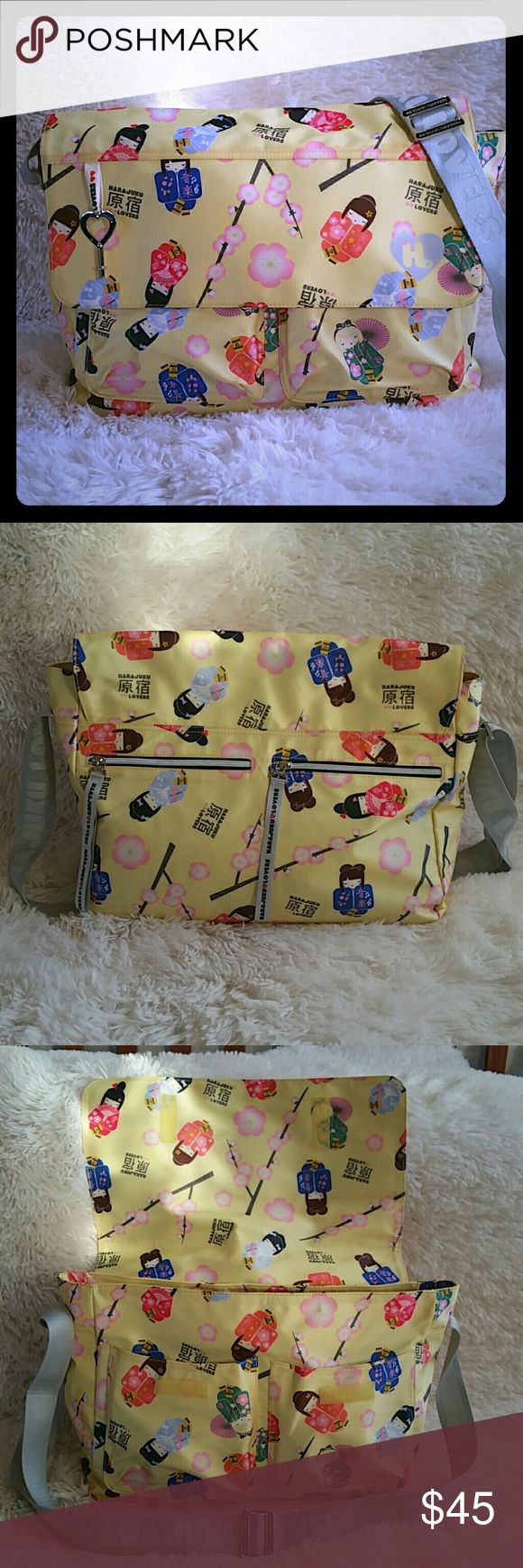 Harajuku Lovers by Gwen Stefani messenger bag Light yellow with amazingly adorable japanese cherry blossom harajuku girl print! Gray adjustable cross body strap, can be shortened or lengthened to wear as shoulder bag or cross body. Tons of pockets and storage. NWOT never used just been a part of my collection since it came out. This would make a great diaper or travel bag too! Inside and out pristine! Harajuku Lovers Bags Shoulder Bags