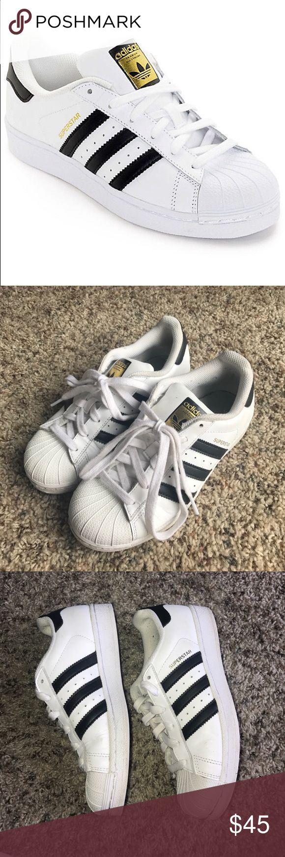 Adidas Superstar Shoes LOVE these shoes but I never wear them anymore. Super comfortable    Men's 3.5 - Women's 5.5.       Let me know if you have any questions Adidas Shoes Athletic Shoes