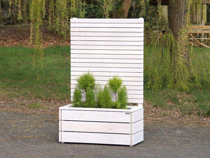 Blumenkasten mit Sichtschutz aus Holz Weiß Transparent - Made in Germany - Holzweise